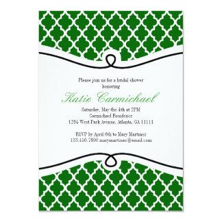 Convite marroquino verde, preto & branco