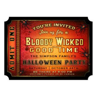 Convite mau sangrento do bilhete do partido do Dia