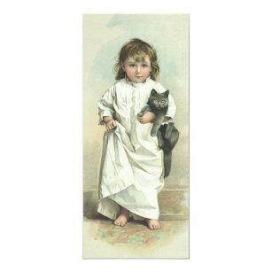 Convite Menina do Victorian do vintage em um Nightgown com