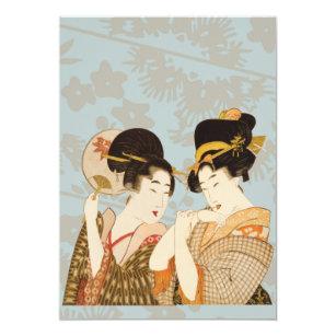 Convite Meninas de gueixa japonesas do vintage nos