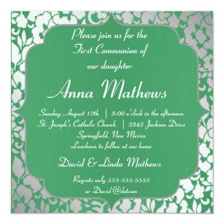 Convite metálico do comunhão do verde esmeralda