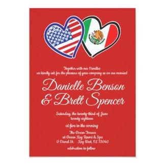 Convite mexicano americano do casamento do amor