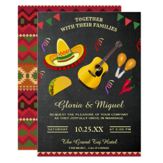 Convite mexicano colorido do casamento da festa