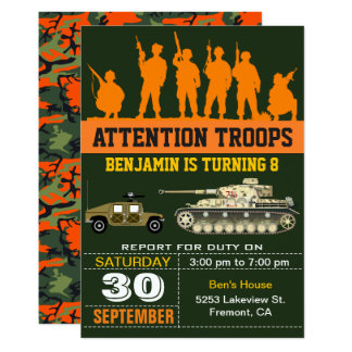 Convite militar do aniversário de Camo dos