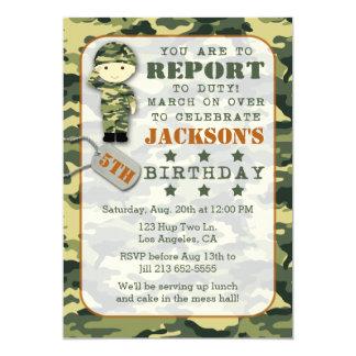 Convite militar do aniversário do menino de Camo