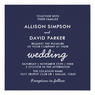 Convite minimalista moderno branco do casamento do