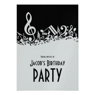 Convite misturado customizável das notas musicais