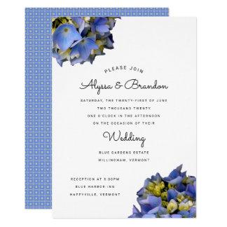Convite moderno azul do casamento do verão