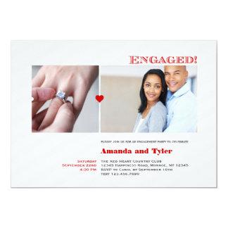 Convite moderno da festa de noivado da foto convite 12.7 x 17.78cm