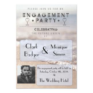 Convite moderno da festa de noivado da praia