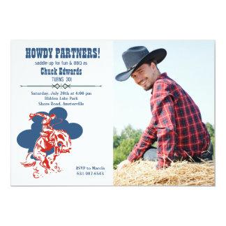 Convite moderno da foto do vaqueiro