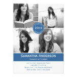 Convite moderno da graduação de 4 fotos - azul
