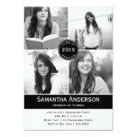 Convite moderno da graduação de 4 fotos - preto
