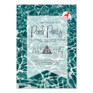 Convite moderno do aniversário da festa na piscina