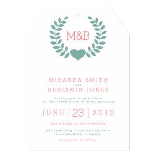 Convite moderno do casamento do monograma do louro convite 12.7 x 17.78cm