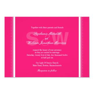 Convite moderno do casamento do rosa quente do