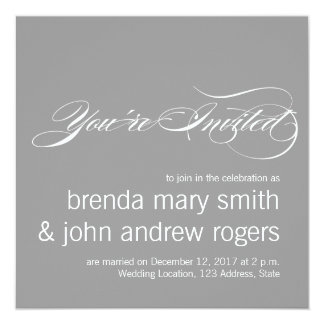 Convite moderno do casamento do roteiro simples do convite quadrado 13.35 x 13.35cm