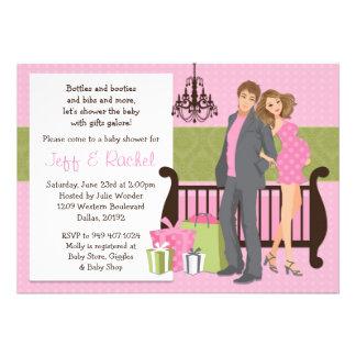 Convite moderno do chá de fraldas do casal para a