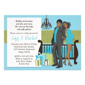 Convite moderno do chá de fraldas do casal para o