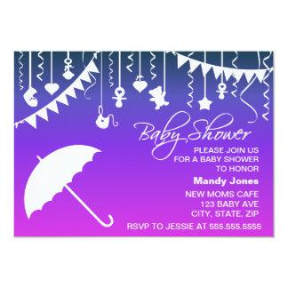 Convite moderno do chá de fraldas do guarda-chuva
