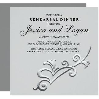 Convite moderno e minimalista do jantar de ensaio