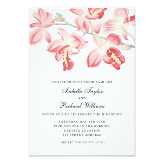 Convite moderno elegante do casamento da orquídea