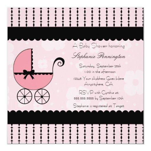 Convite moderno preto cor-de-rosa do chá de