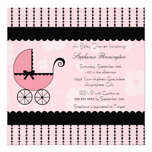 Convite moderno preto cor-de-rosa do chá de fralda