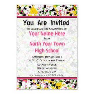 Convite multicolorido da graduação do Splatter -