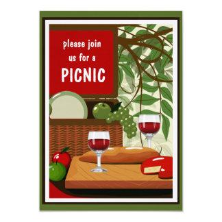 Convite N do piquenique do vinho