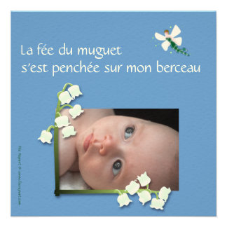 Convite nascimento lírio-do-vale e fada felt azul