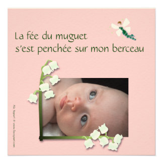 Convite nascimento lírio-do-vale e fada felt rosa