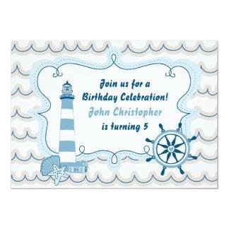 Convite náutico azul do aniversário dos meninos do