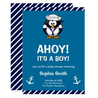 Convite náutico azul do chá de fraldas do pinguim