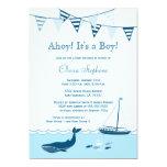Convite náutico azul do chá do bebé do veleiro