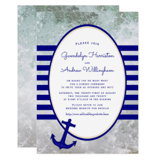 Convite náutico da cerimónia de casamento do navio