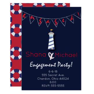 Convite náutico da festa de noivado da casa clara