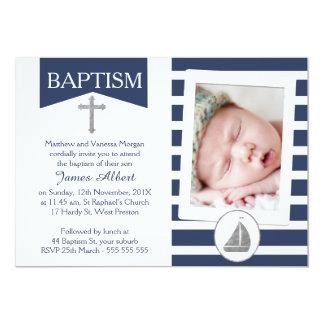 Convite náutico de prata do baptismo do falso