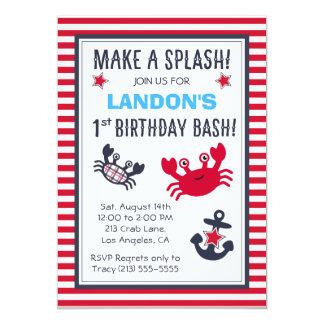 Convite náutico do aniversário do menino do