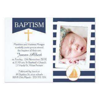 Convite náutico do batismo do baptismo dos meninos