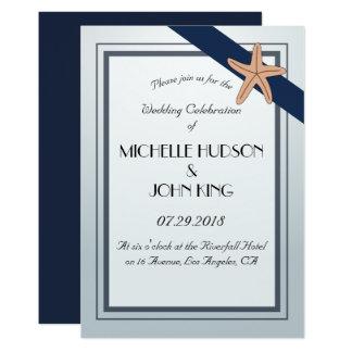 Convite náutico do casamento do marinho da praia