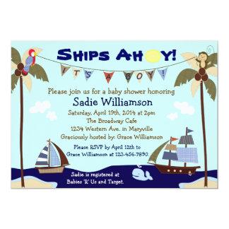 Convite náutico do chá de fraldas dos navios Ahoy