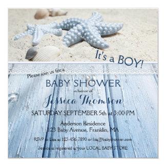 Convite náutico do chá do bebé da praia