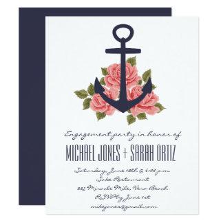 Convite náutico romântico da festa de noivado do