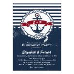 Convite náutico rústico da festa de noivado do mar