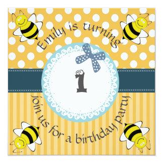 Convite neutro do aniversário das abelhas chiques