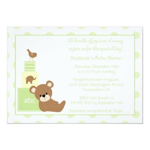 Convite neutro do chá de fraldas do urso e do