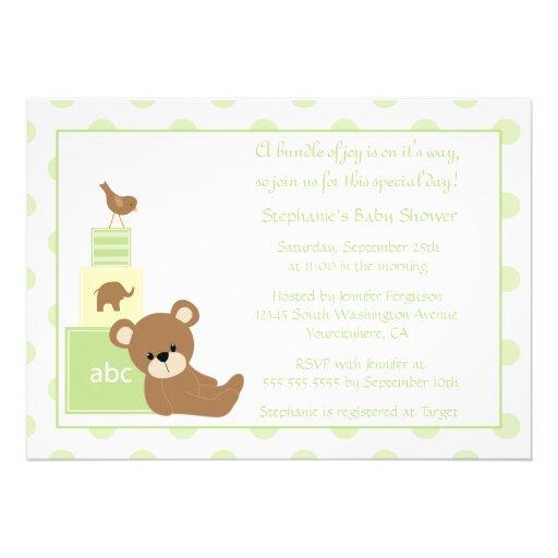 Convite neutro do chá de fraldas do urso e do páss