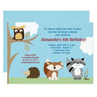 Convite noturno do aniversário dos animais 5x7 da
