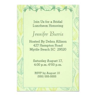 Convite nupcial do almoço da folha verde convite 12.7 x 17.78cm